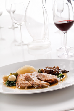 Braised leg of veal with pureed jerusalem artichokes and pan-fried cepes