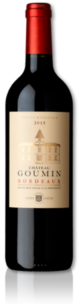 bottle of 2015 red Château Goumin