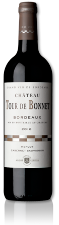 bottle of 2016 red Château Tour de Bonnet